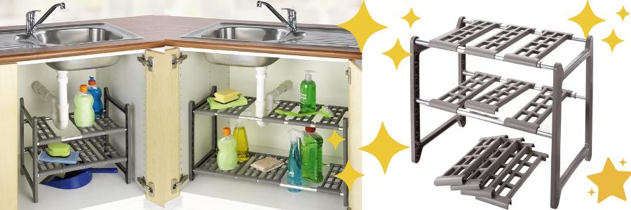 estantería para bajo fregadero metálica, estantería almacenaje bajo fregadero, la mejor estantería bajo fregadero, baldas bajo fregadero